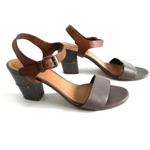 Chloé Taupe & Brown Leather Block Heel Sandals 9.5